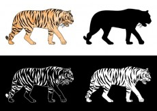 Free vector Free Tiger Silhouette Vector Set #13495