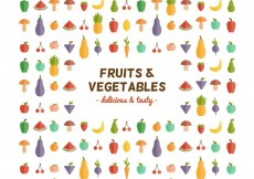 Free vector Fruits and vegetables icons #19996