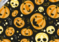 Free vector Funny halloween pattern with pumpkins and skulls #14217