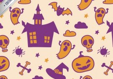 Free vector Halloween pattern in orange and purple color #14207