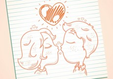 Free vector Hand drawn kissing couple #18424