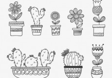 Free vector Hand drawn plotted plants #12998