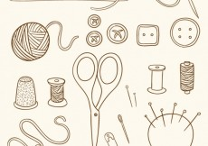 Free vector Hand drawn sewing vintage objects #18503