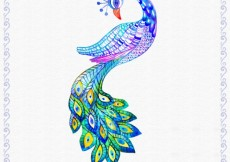 Free vector Hand painted colorful peacok #18463