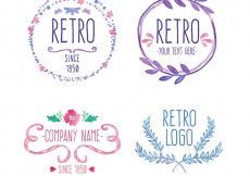 Free vector hand painted retro badges #12572
