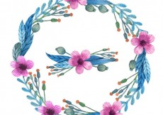 Free vector Hand painted wreath with purple flowers #15775