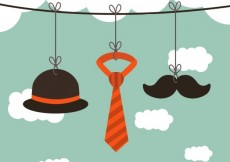 Free vector Hanging male accesories on a rope #16607