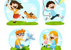 Free vector Happy children with toys #14313