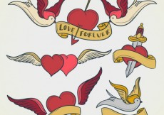 Free vector Heart tattoos collection #15236
