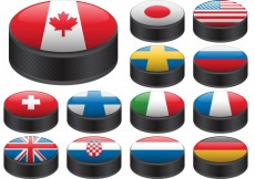 Free vector Hockey Puck Vectors with Flags #17182