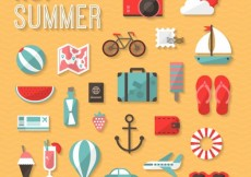 Free vector Hot summer icons #15060