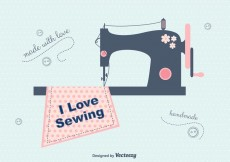 Free vector I Love Sewing Vector Background #18256