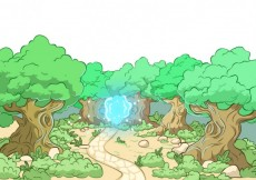 Free vector Illustrated forest with a blue light #12297