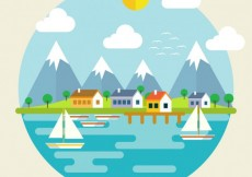 Free vector Landscape with mountains and sea #16074