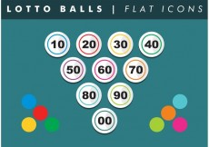 Free vector Lotto Balls Numbers Flat Icons Vector Free #17372