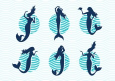 Free vector Mermaids Vector Silhouettes Illustrations Free #12266