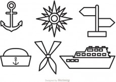 Free vector Nautical Vector Outline Icons #17509