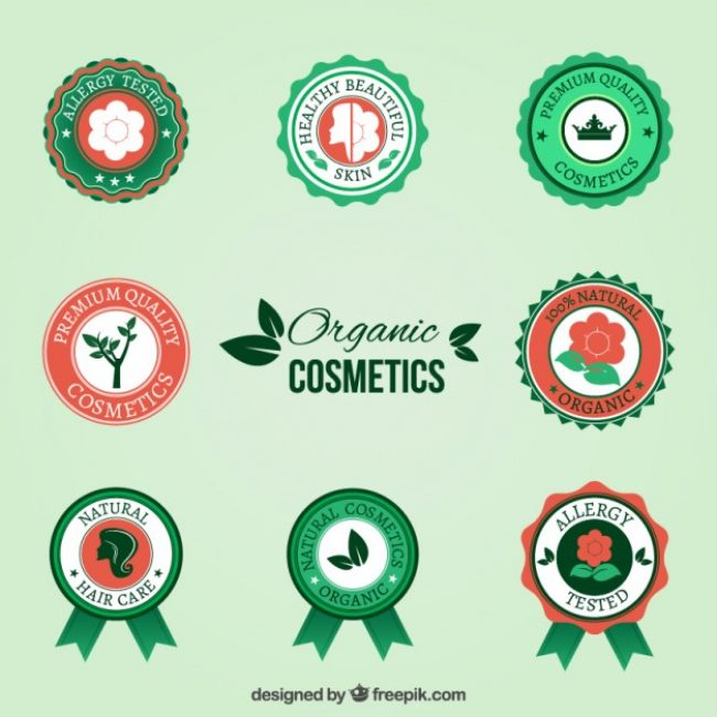 Free vector Organic cosmetic badges #18151