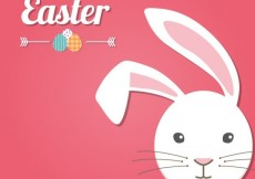 Free vector Pink easter card with a bunny #20232