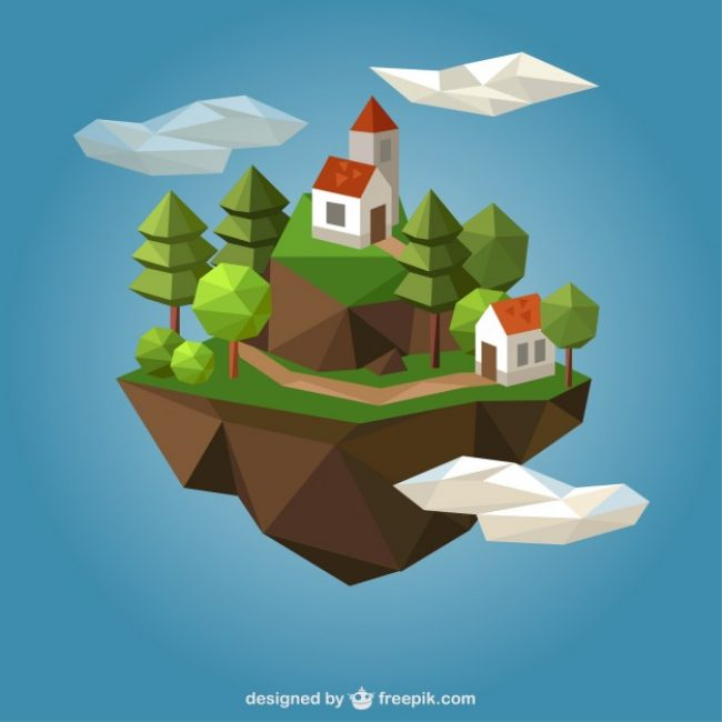 Free vector Polygonal country houses #15112