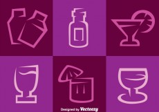 Free vector Purple Cocktail Vector Icons #18506