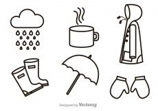 Free vector Rainy Outline Icons #12328