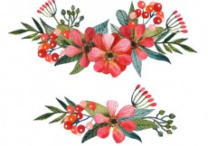 Free vector Red corsages in han painted style #15787