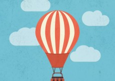 Free vector Retro hot air balloon #12785