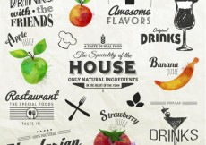 Free vector Retro labels with fruits #17752