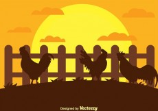 Free vector Rooster Silhouette on a Farm Vector #13655