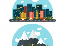 Free vector Rural and urban landscape #18905