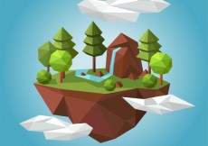 Free vector Rural landscape in polygonal style #15110