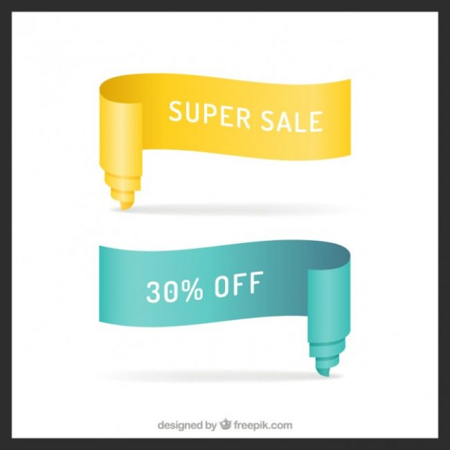 Free vector Sale banners made of ribbon #15000
