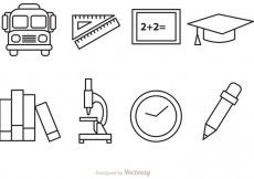 Free vector School Outline Vector Icons #17705
