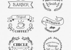Free vector Sketchy shop badges #13636