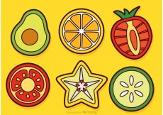 Free vector Slices Of Fruits And Vegetable Vectors #18423