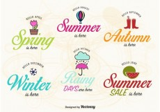Free vector Spring, Summer, Autumn and Winter Label Vectors #17226