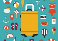 Free vector Suitcase and summer icons #17436