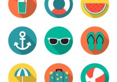Free vector Summer icons in colorful style #17444