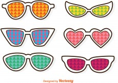 Free vector Sunglasses With Colorful Triangles Vector #12232