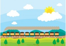 Free vector Train On Railway With Rolling Hilsl Vector #19777