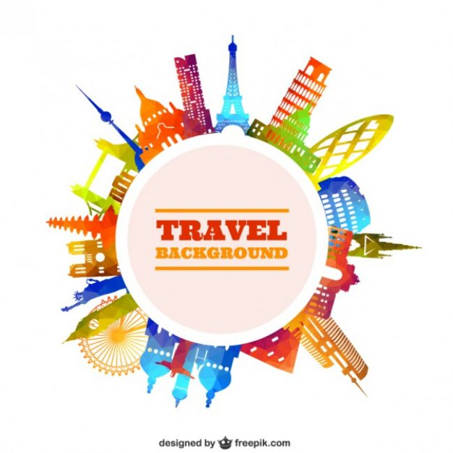 Free vector travel background in colorful style #16094