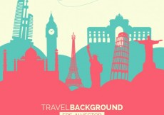 Free vector Travel background with monuments #12871