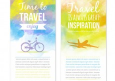 Free vector Travel banners in watercolor style #19211