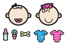 Free vector Two Cute Twin Babies Illustration #14858