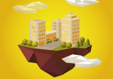 Free vector Urban lanscape in polygonal style #15108