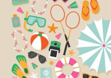 Free vector Variety of beach elements #15070