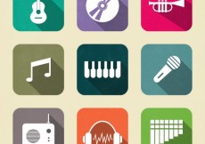 Free vector Variety of colored music icons #16493