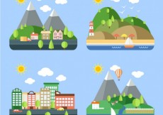 Free vector Variety of landscapes #16557