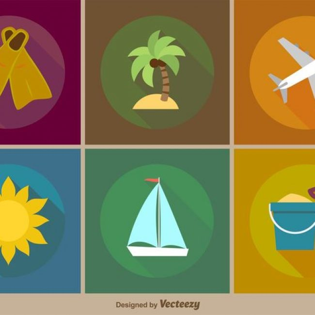 Free vector Vector Beach Vacations Flat Icons #19745